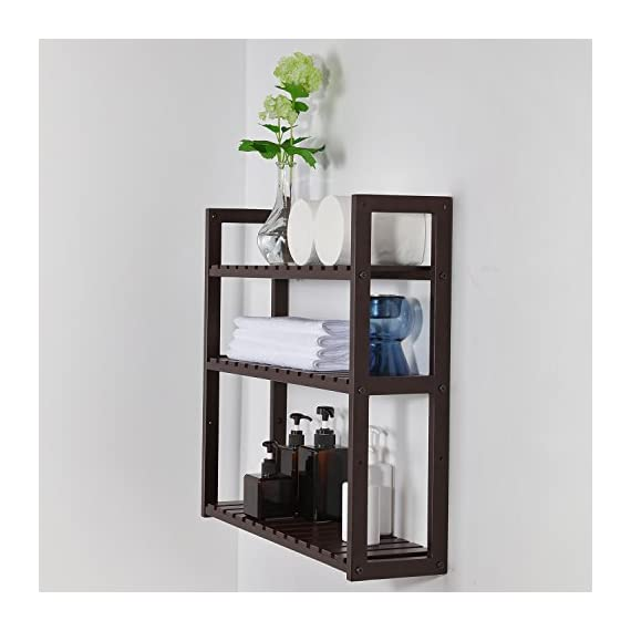 SONGMICS bamboo bathroom shelves, 3-Tier Utility Storage Shelf Rack, Bamboo Adjustable layer Bathroom Towel Shelf Multifunctional Kitchen Living Room Holder Wall Mounted Brown - MULTIFUNCTIONAL BAMBOO RACK: 100% natural bamboo, and sturdy; 3 tiers bamboo rack & storage shelf for toiletries, towels, sundries, decorative things, Knick knacks, shoes, books, plants, spice and small appliances in bathroom, living room, balcony, kitchen, etc. INNOVATIVE DESIGN: 3 removable shelves, 5 vertical positions to choose, adjustable design to meet the height of your items TWO METHODS OF USAGE: Wall Mounted or just standing by the wall, saving space and making your home neat and well-organized - shelves-cabinets, bathroom-fixtures-hardware, bathroom - 41p2eow%2BAOL. SS570  -