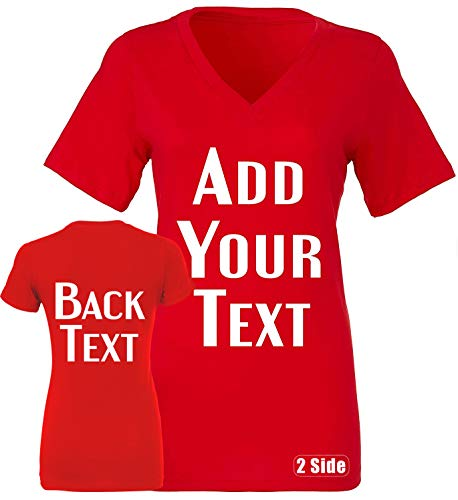 Jersey Custom V-neck Soccer (TEEAMORE Women Custom V Neck T Shirt Add Your Text Design Your Own Front Back Side Red)