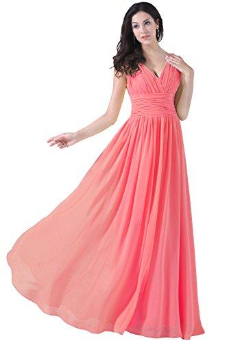 Asbridal V Neck Bridesmaid Long Chiffon Evening Formal Dresses Coral