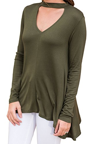 Floral Find Womens Tunic Tops Choker Long Sleeve V Neck Casual Loose Pullover Blouse