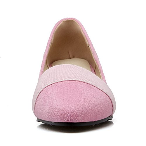 BalaMasa Womens Pointed-Toe Wedges Low-Cut Uppers Suede Pumps Shoes Pink PYF167o
