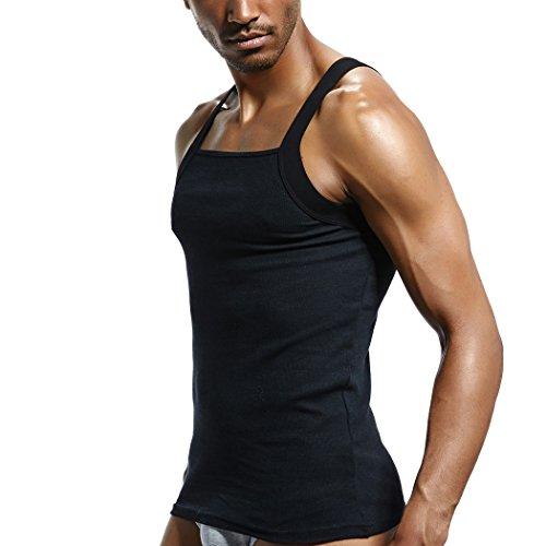 0b0a9de7d SUPERBODY Mens Tanks Tops Square Cut Cotton Stretch Rib Sleeveless Shirts(Black  XL)