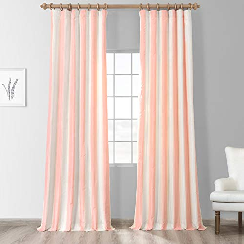 Half Price Drapes PTSCH-11091-84 Faux Silk Taffeta Stripe Curtain, Annabelle (Pink Taffeta Curtains Silk)