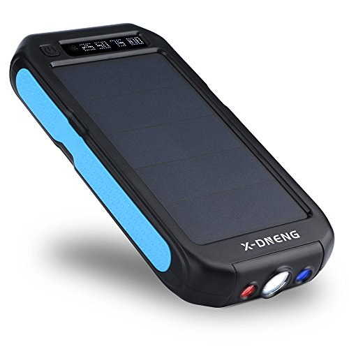 Solar Charger 12000mAh, X-DNENG Portable High Efficiency SunPower Solar Panel Power Bank External Battery Pack with Dual USB Port LED Light for iPhone iPad Samsung Android Cellphones GoPro GPS & More
