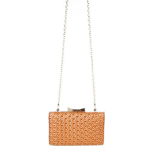 Kleine TA Kunstleder 1560 Abendtasche Tasche 138E Orange Clutch Damen YwOEUE