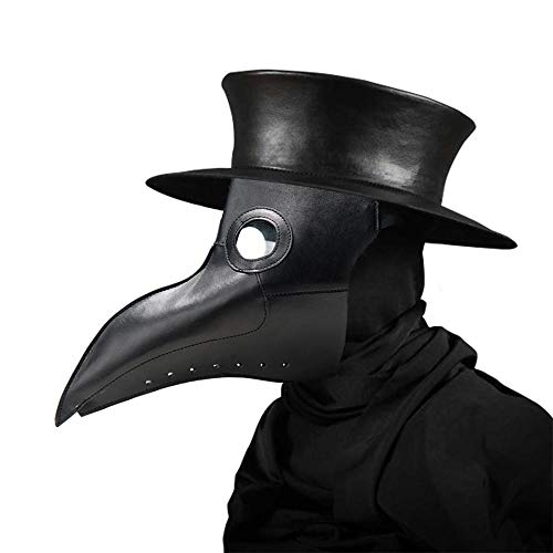 Clear Halloween Masks (Yichener Plague Doctors Mask PU Leather Clear Resin Lenses Beaked Face Masks for Halloween Steampunk Costume Party Caribbean)