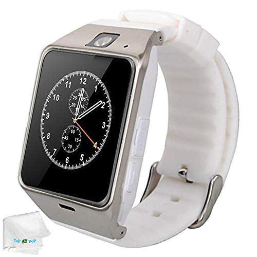 h Sport Wristwatch GSM SIM Tf Card Slot Unlocked Watch with Camera Women Smartwatch Compatible Android Mobile Phones Samsung Galaxy Note 8 9 S5 S6 S7 Edge S8 Huawei Motorola White ()