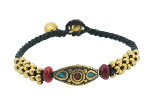 [Indian Native American Style Dyed Howlite Unique Brass Bell Beaded Bracelet (S13)] (Indian Beaded Bracelet)