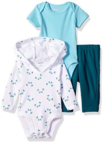 Hanes Ultimate Baby Boys Zippin Pants, Short Sleeve Hoodie Bodysuit Set, Blue/Green Print, 18M-24M