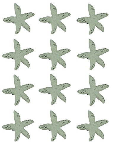 Chesapeake Bay Distressed White Cast Iron Starfish Drawer Pull Set of 12