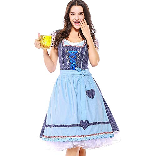 Togethor Oktoberfest Costumes Dirndl Dress 4PC Women Bandage Apron Bavarian with Blouse and Ribbon Waitress Dress Blue]()