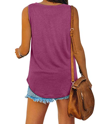 Tank Tops for Women Loose Fitting V Neck Summer Sleeveless Tee Shirts Purple S
