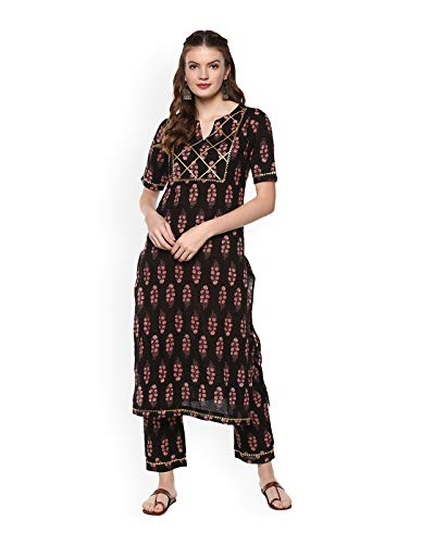 Women Black & Red Printed Kurta with Pyjamas Full Set Dream Angel Fashion (Medium-36)