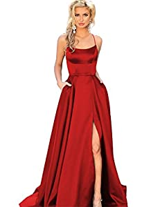 YMSHA Womens Long Halter Split Prom Party Dresses with Pockets Spaghetti Straps Evening Formal Gown PM10