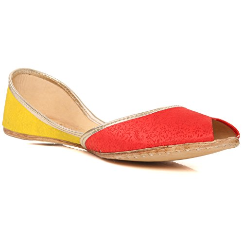 Unze New Women Traditional 'Amaan' Handmade Leather Flat Khussa Pump Slippers Shoes Size 3-8 – UN-34