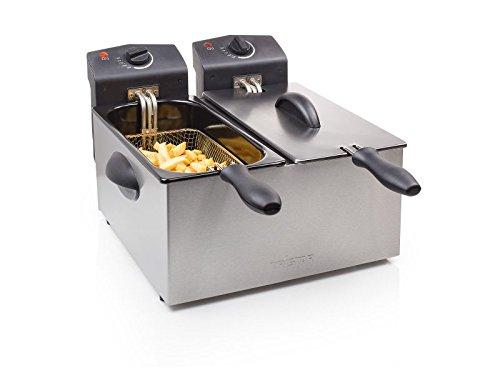 Edelstahl Doppel-Fritteuse (2 x 1800 Watt, große 2 x 3 Liter Fritöse, Kaltzonen-Fritteuse, Geruchsfilter, Sichtfenster, regelbarer Thermostat)