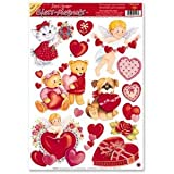 ZOOM001 6pk, Valentine and Bears Window Clings