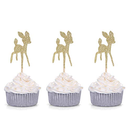 (24 CT Gold Glitter Baby Deer Cupcake Toppers Birthday/Wedding / Baby Shower Party Decors)
