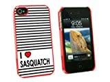 Graphics and More I Love Heart Sasquatch - Bigfoot - Snap On Hard Protective Case for Apple iPhone 4 4S - Red - Carrying Case - Non-Retail Packaging - Red