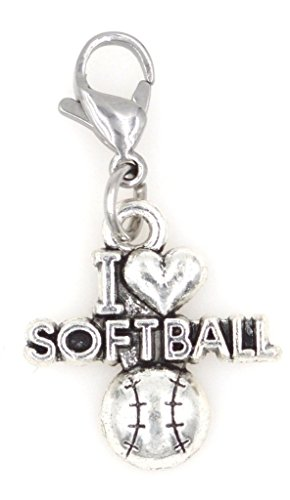 It's All About...You! I Love Softball Sports Stainless Steel Clasp Clip on Charm 81B