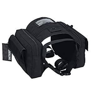 OneTigris Dog Pack Hound Travel Camping Hiking Backpack Saddle Bag Rucksack for Medium & Large Dog (Black - 1000D Nylon)