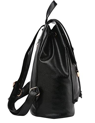 Daypack di sacchetto PU Vino Satchel Nero CUKKE Zaino Rosso scuola w6qtvqPx