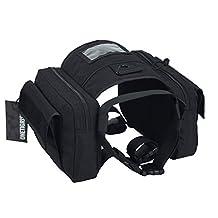 OneTigris Dog Pack Hound Travel Camping Hiking Backpack EDC Saddle Bag Rucksack for Medium & Large Dog (Black - 1000D Nylon)