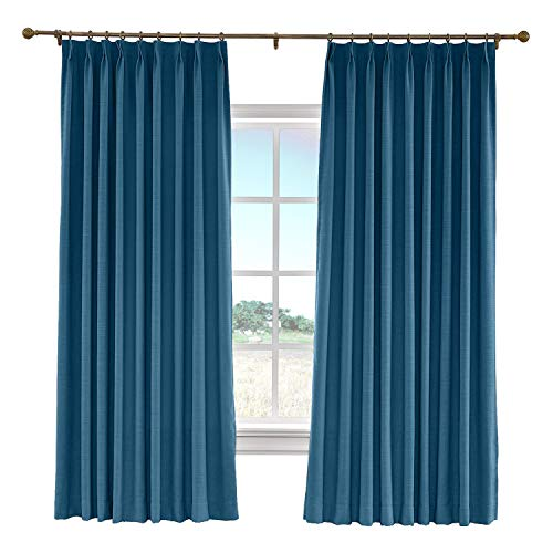 (cololeaf 52 W x 84 L Pinch Pleat Faux Linen Blackout Lined Curtains Drapery Panel for Traverse Rod Or Track, Living Room Bedroom Meetingroom Club Theater Patio Door,Navy Blue (1 Panel))