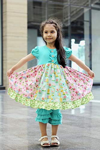 Angeline Baby Toddler Little Girls Happy Spring Easter Persnickety Outfits - Dress & Capris or Leggings