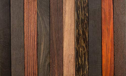 (Exotic Wood Pen Blanks 10-Pack: Indian Redwood, Ebony, Granadillo Cocobolo, Black & White Ebony, Black Palm, Macassar Ebony, Kingwood, Rosewood, Gaboon Ebony, Katalox)