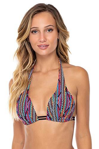 Sunsets Women's Marilyn Bra Sized Halter Bikini Top Swimsuit, Playa Stripe, Small