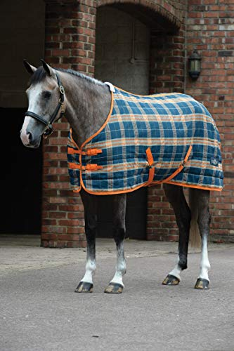 (Saxon. PP Stable Blanket Standard Neck Medium Dark Blue/Pebble/Orange Plaid 78