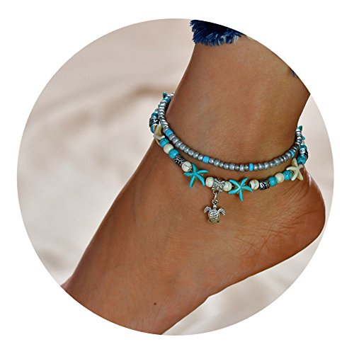 MOCAL Starfish Turtle Anklet Multi-Layer Boho Handmade Tree Life Anklet Foot Charm Jewelry Gifts Women