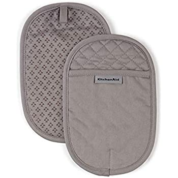 KitchenAid Asteroid Cotton Pot Holders with Silicone Grip, Set of 2, Grey