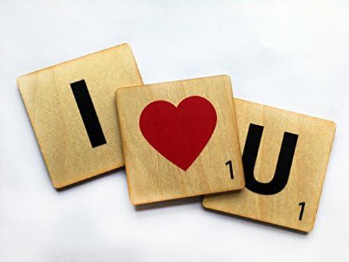 Madera Scrabble Letra Imanes - El Ideal Regalo San Valentín - Beige: Amazon.es: Hogar