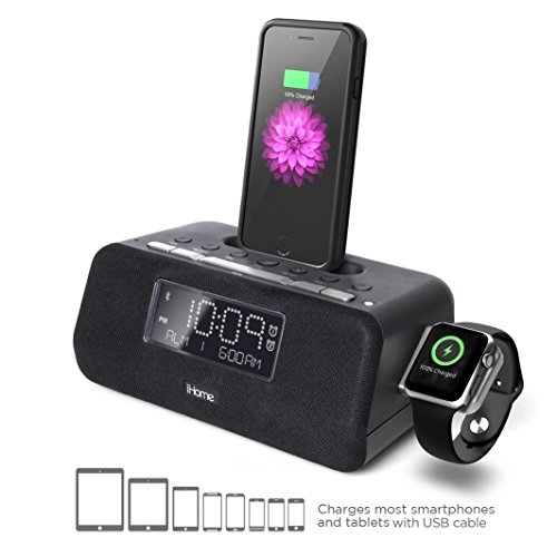 iHome iPLWBT5B Alarm Clock FM Bluetooth Radio with Lightning iPhone and iWatch Charging Dock Station for iPhone XS