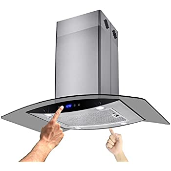 "AKDY New 30"" European Style Island Mount Stainless Steel Range Hood Vent Touch Sensor Control W/Both Side Accessible Control AZ-H603B-75"