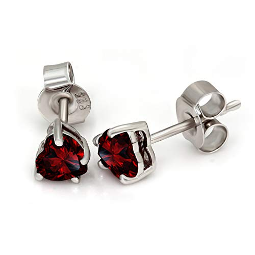 Heart Shape Garnet Earrings 1 cttw Garnet Stud Earrings For Women Natural Garnet Solitaire Earrings 925 Sterling Silver Garnet Earrings (1 cttw, 925 Sterling Silver) ()