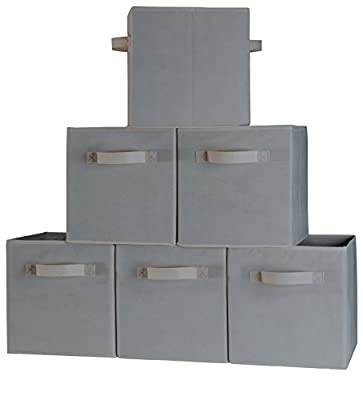Foldable Cube Storage Container - Set of 6 Light Gray Storage Basket Bins - Fabric Storage Boxes with Dual Handles and Collapsible Design