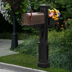 Westbrook Plus Mailbox Post in Black Finish