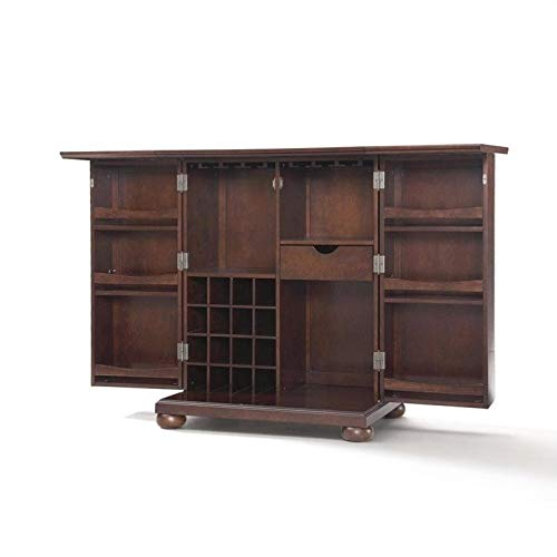 Pemberly Row Expandable Home Bar Cabinet in Vintage Mahogany