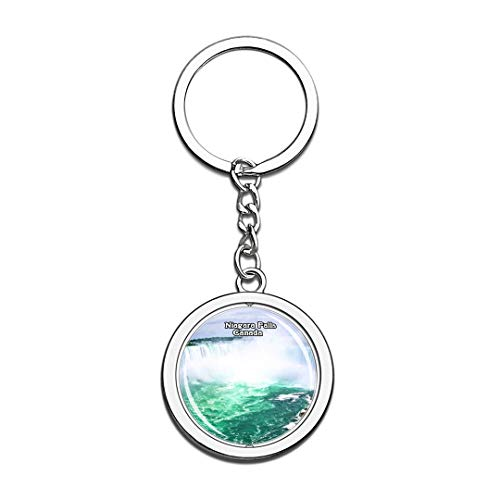 Keychain Niagara Falls Canada Keychain 3D Crystal Spinning Round Stainless Steel Keychains Travel City Souvenir Key Chain Ring]()