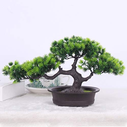 Artificial Plants Bonsai Welcoming Pine Tree Pot Desk Display Simulation Fake Tree Ornaments Mini Bonsai Tree Pot Plants Vivid Potted Artificial House Plants Living Room Garden Decoration Party Decor