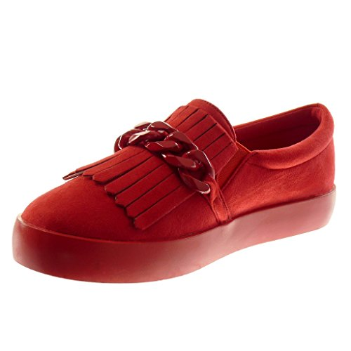 Angkorly Schuhe Damen Sohle Sneaker 5 Sneaker Ferse Rot Fransen Flache Mokassin cm Kette 2 xww6nfdrT5