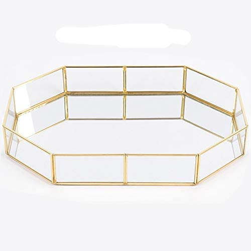 advancethy Spiegeltablett 31.5x21.5x5cm Schmuck Ablageschale Glas Vintage Schmuck Dekoration Metall Verspiegelt Verzierten Nordischen Ins Gold für Schmuck Desktop Dekorative