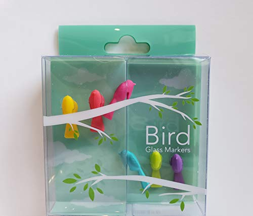 - Wine Glass Markers with Colorful and Stylish Design - Set of 6 (Bird)