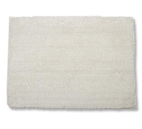 Tapete Banho Chenille, Etna, Poliéster e Borracha TPR, Branco, 50 x 70 cm