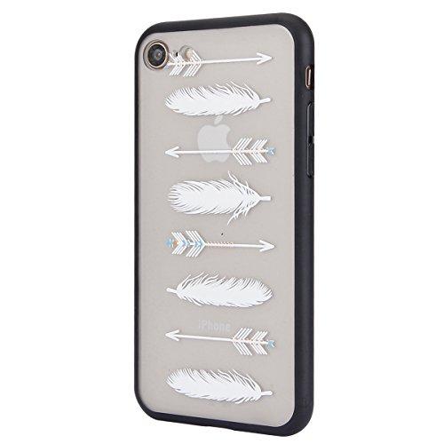 Carcasa para Apple iPhone 7, Funda para Apple iPhone 8,Surakey Suave Carcasa Caso Parachoques Diseño pintado Patrón (Pluma /Panda/Gato/Mandala/Flor de encaje/Bosque/Alpaca)para Apple iPhone 7/8 ,iPhon Pluma #2