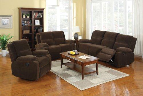 Furniture of America Rellbrandt 2-Piece Flannelette Recliners Set, Dark Brown Finish