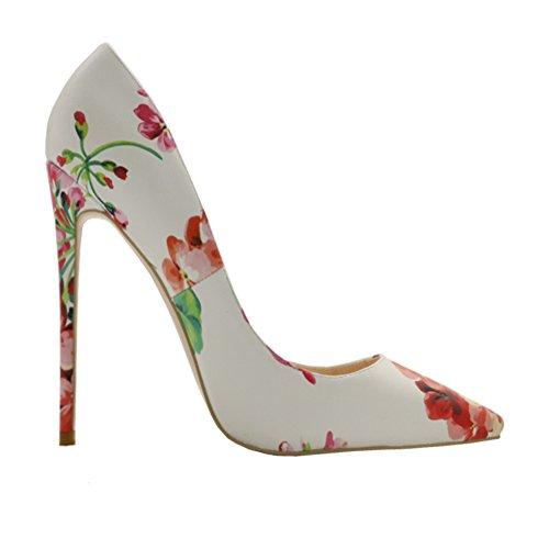 46 Pink Drucken Damen MERUMOTE Spitz 157 Pumpen EU 35 Zehe Stilettos Schuhe Y tAPxPdw7